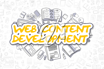 Doodle Illustration of Web Content Development, Surrounded by Stationery. Business Concept for Web Banners, Printed Materials.