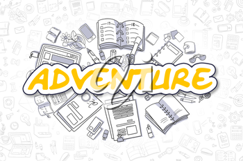 Adventure Doodle Illustration of Yellow Inscription and Stationery Surrounded by Cartoon Icons. Business Concept for Web Banners and Printed Materials.