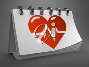 Red Icon of Heart with Cardiogram Line on White Desktop Calendar Isolated on Gray Background. Medical Concept.