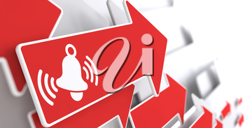 Ringing White Bell Icon on Red Arrow on a Grey Background.