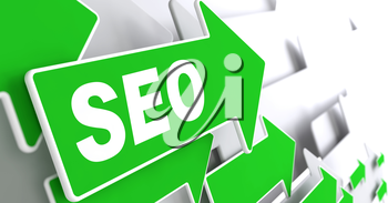 SEO on Green Arrow on a Grey Background. Internet Concept.