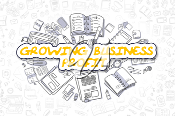 Yellow Inscription - Growing Business Profit. Business Concept with Doodle Icons. Growing Business Profit - Hand Drawn Illustration for Web Banners and Printed Materials.