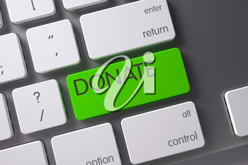 Donate Concept Metallic Keyboard with Donate on Green Enter Key Background, Selected Focus. 3D Render.