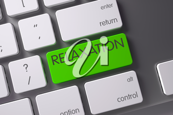 Relaxation Concept: Modern Keyboard with Relaxation, Selected Focus on Green Enter Key. 3D Illustration.