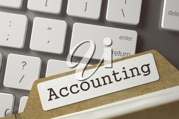 Accounting written on  Folder Index on Background of White Modern Computer Keyboard. Archive Concept. Closeup View. Toned Blurred  Illustration. 3D Rendering.