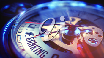 Online Banking. on Vintage Pocket Watch Face with CloseUp View of Watch Mechanism. Time Concept. Lens Flare Effect. 3D.