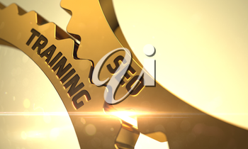 SEO Training on the Mechanism of Golden Cogwheels with Glow Effect. 3D.