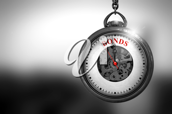 Business Concept: Bonds on Vintage Watch Face with Close View of Watch Mechanism. Vintage Effect. Pocket Watch with Bonds Text on the Face. 3D Rendering.
