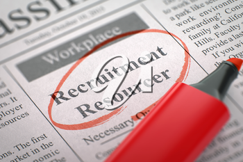 Recruitment Resourcer - Vacancy in Newspaper, Circled with a Red Marker. Blurred Image. Selective focus. Hiring Concept. 3D.