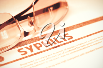 Diagnosis - Syphilis. Medical Concept with Blurred Text and Eyeglasses on Red Background. Selective Focus. 3D Rendering.