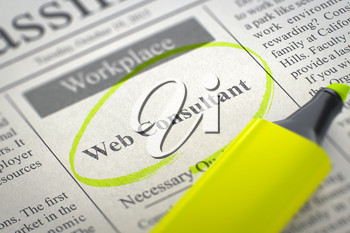 Web Consultant - Small Ads of Job Search in Newspaper, Circled with a Yellow Marker. Blurred Image with Selective focus. Job Search Concept. 3D Rendering.