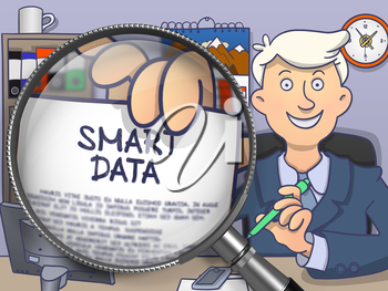 Officeman in Office Showing Text on Paper Smart Data. Closeup View through Magnifying Glass. Multicolor Doodle Style Illustration.