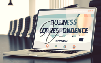 Business Correspondence. Closeup Landing Page on Mobile Computer Screen. Modern Conference Room Background. Blurred. Toned Image. 3D Illustration.