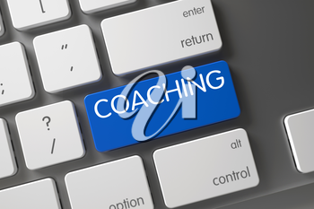 Coaching Concept Computer Keyboard with Coaching on Blue Enter Key Background, Selected Focus. 3D Illustration.