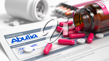 Abulia - Handwritten Diagnosis in the History of the Present Illness. Medical Concept with Heap of Pills, CloseUp View, Selective Focus. 3D.