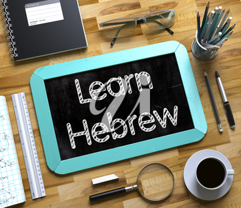 Top View of Office Desk with Stationery and Mint Small Chalkboard with Business Concept - Learn Hebrew. Small Chalkboard with Learn Hebrew. 3d Rendering.