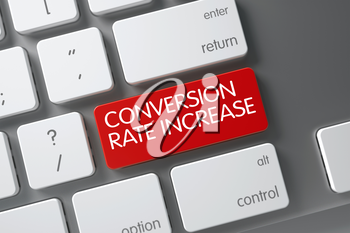 Conversion Rate Increase Concept: Aluminum Keyboard with Conversion Rate Increase, Selected Focus on Red Enter Button. 3D.