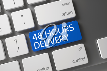 48 Hours Delivery Concept: Laptop Keyboard with 48 Hours Delivery, Selected Focus on Blue Enter Keypad. 3D Illustration.