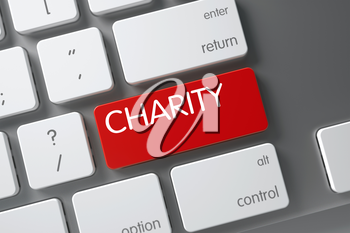 Charity Concept: Aluminum Keyboard with Charity, Selected Focus on Red Enter Button. 3D Illustration.