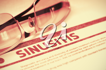 Sinusitis - Medical Concept on Red Background with Blurred Text and Composition of Eyeglasses. 3D Rendering.