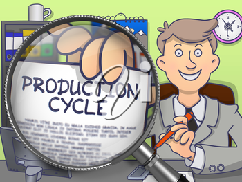 Production Cycle through Magnifier. Officeman Holds Out a Paper with Concept. Closeup View. Multicolor Doodle Illustration.