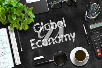 Global Economy - Black Chalkboard with Hand Drawn Text and Stationery. Top View. 3d Rendering.
