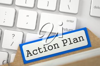 Action Plan. Blue Folder Register on Background of Modern Keyboard. Archive Concept. Close Up View. Selective Focus. 3D Rendering.