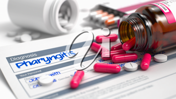 Pharyngitis - Handwritten Diagnosis in the Medical History. Medicine Concept with Blister of Red Pills, Close View, Selective Focus. 3D Render.