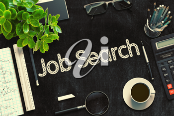 Job Search Concept on Black Chalkboard. 3d Rendering. Toned Image.