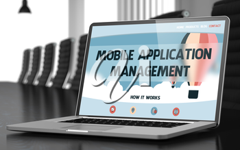 Mobile Application Management. Closeup Landing Page on Mobile Computer Screen. Modern Meeting Hall Background. Toned Image with Selective Focus. 3D Rendering.