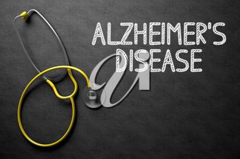 Medical Concept: Alzheimers Disease - Text on Black Chalkboard with Yellow Stethoscope. Medical Concept: Black Chalkboard with Alzheimers Disease. 3D Rendering.
