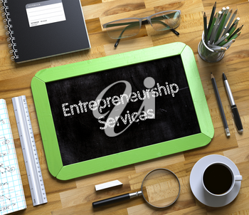 Small Chalkboard with Entrepreneurship Services. Entrepreneurship Services Handwritten on Small Chalkboard. 3d Rendering.