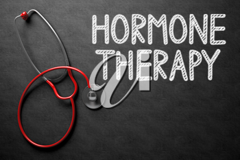 Medical Concept: Hormone Therapy - Text on Black Chalkboard with Red Stethoscope. Black Chalkboard with Hormone Therapy - Medical Concept. 3D Rendering.