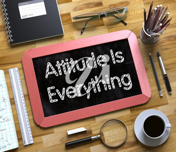 Attitude Is Everything Handwritten on Red Small Chalkboard. Top View of Wooden Office Desk with a Lot of Business and Office Supplies on It. Attitude Is Everything on Small Chalkboard. 3d Rendering.