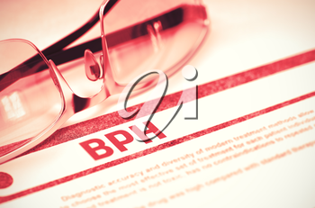 BPH - Benign Prostatic Hyperplasia - Printed Diagnosis on Red Background and Specs Lying on It. Medicine Concept. Blurred Image. 3D Rendering.