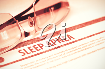 Sleep Apnea - Medicine Concept on Red Background with Blurred Text and Composition of Glasses. 3D Rendering.