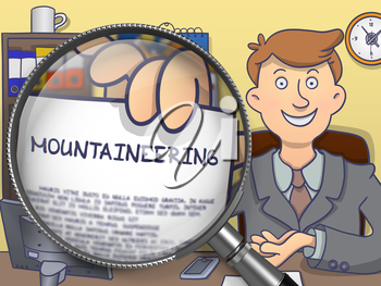 Mountaineering on Paper in Business Man's Hand to Illustrate a Business Concept. Closeup View through Magnifying Glass. Colored Doodle Style Illustration.