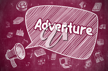Speech Bubble with Text Adventure Cartoon. Illustration on Red Chalkboard. Advertising Concept. Business Concept. Horn Speaker with Text Adventure. Doodle Illustration on Red Chalkboard.