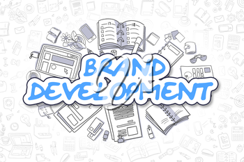 Blue Text - Brand Development. Business Concept with Doodle Icons. Brand Development - Hand Drawn Illustration for Web Banners and Printed Materials.