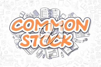 Common Stock - Hand Drawn Business Illustration with Business Doodles. Orange Text - Common Stock - Doodle Business Concept.