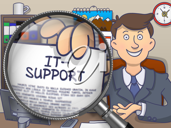 IT- Support on Paper in Mans Hand to Illustrate a Business Concept. Closeup View through Magnifying Glass. Multicolor Modern Line Illustration in Doodle Style.