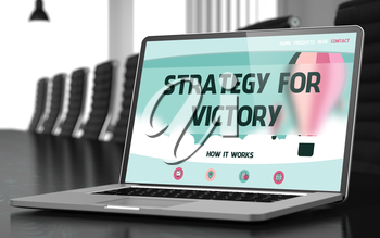 Strategy For Victory. Closeup Landing Page on Mobile Computer Display. Modern Meeting Room Background. Toned Image. Selective Focus. 3D Rendering.