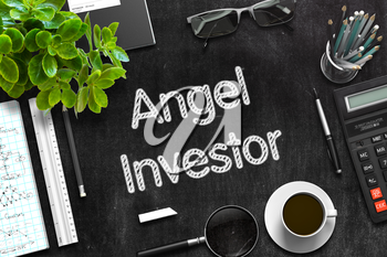 Angel Investor Handwritten on Black Chalkboard. Top View Composition with Black Chalkboard with Office Supplies Around. 3d Rendering. Toned Image.