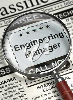 Engineering Manager. Newspaper with the Small Ads of Job Search. Engineering Manager - Advertisements and Classifieds Ads for Vacancy in Newspaper. Job Search Concept. Selective focus. 3D Rendering.