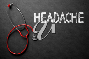 Medical Concept: Headache on Black Chalkboard. Black Chalkboard with Headache - Medical Concept. 3D Rendering.