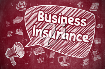 Yelling Loudspeaker with Phrase Business Insurance on Speech Bubble. Cartoon Illustration. Business Concept.