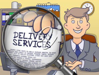Business Man in Suit Looking at Camera and Holding a Paper with Text Delivery Services Concept through Magnifying Glass. Closeup View. Multicolor Doodle Style Illustration.