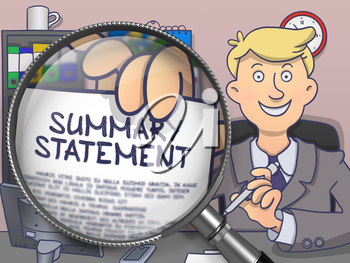 Summary Statement. Officeman Holding a Paper with Inscription through Lens. Multicolor Doodle Illustration.
