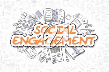 Social Engagement Doodle Illustration of Orange Text and Stationery Surrounded by Doodle Icons. Business Concept for Web Banners and Printed Materials.