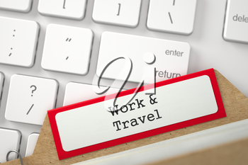 Work and Travel. Red Index Card Overlies Modern Metallic Keyboard. Archive Concept. Close Up View. Selective Focus. 3D Rendering.